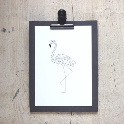 Clipboard antraciet kaart flamingo